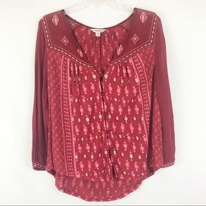 Lucky Brand Red Embroidered Sheer Button Down Sz M